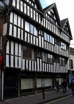 Worcester - Tudor building with jettied upper storey in New Street
