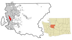 Location of Tukwila, Washington