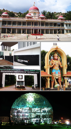 Clockwise from top: Siddaganga Matha, Kote Anjaneya Swami Statue, Globe Library of SSIT, SIT, India Food Park