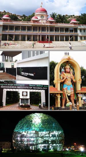 Tumkur - Clockwise from top: Siddaganga Matha, Kote Anjaneya Swami Statue, Globe Library of SSIT, SIT, India Food Park
