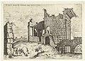 Tweede gezicht op het Forum Nerva Ex incertis qvibvsdam Ro Antiqvitatis rvinis (titel op object) Romeinse ruïnes (serietitel), RP-P-1882-A-6458.jpg