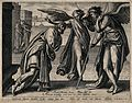 Two angels visit Lot. Line engraving by P. Galle after A. Bl Wellcome V0034235.jpg