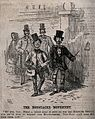 Two short men in top hats and carrying canes are sporting mo Wellcome V0040592.jpg