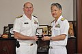U.S. Navy Vice Adm. Matthew L. Nathan, left, U.S. Navy surgeon general and chief of the Bureau of Medicine and Surgery, and Japanese navy Rear Adm. Fumihiko Hirata, commander of the Japan Self-Defense Force 130723-N-YA302-014.jpg