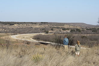 U.S. Route 283 - Section of U.S. Route 283 viewed from Fort Griffin State Historic Site, north of Albany, Texas.