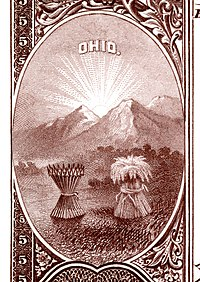 Ohio state coat of arms from the reverse of the National Bank Note Series 1882BB