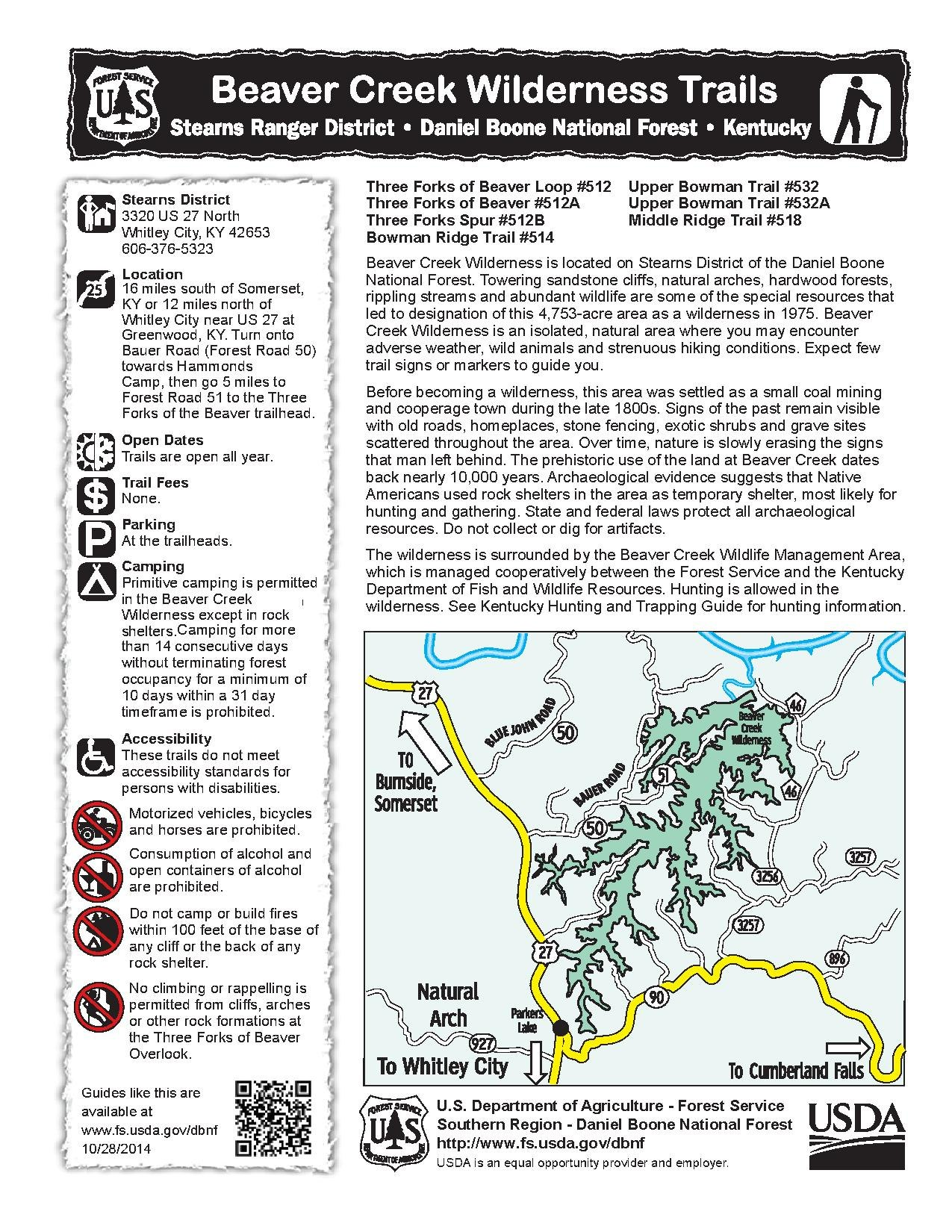 Fileusfs Beaver Creek Wilderness Area Guide And Mappdf