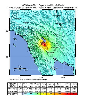 San Jacinto Fault Zone - USGS ShakeMap of the second (stronger) mainshock in the November 1987 sequence