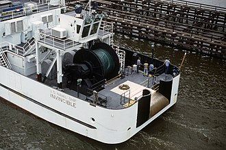 Surveillance Towed Array Sensor System - USNS ''Invincible'' as originally configured. Aft view of equipment for the Surveillance Towed-Array Sensor System (SURTASS), 1987.