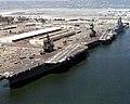 USS Constellation (CV-64) - Coral Sea (CV-43) and Tarawa (LHA-1) at North Island in 1976.jpg