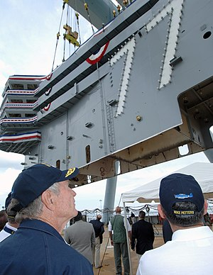 USS George H.W. Bush - Placing the 700-ton island onto the ship's flight deck in 2006