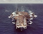 USS Kitty Hawk (CVA-63) refueling USS McKean (DDR-784) and USS Harry E. Hubbard (DD-748) in 1962.jpg