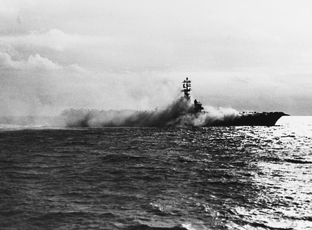 USS Oriskany (CV-34) on fire, 26 October 1966
