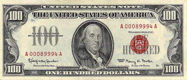 US $100 United States Note 1966