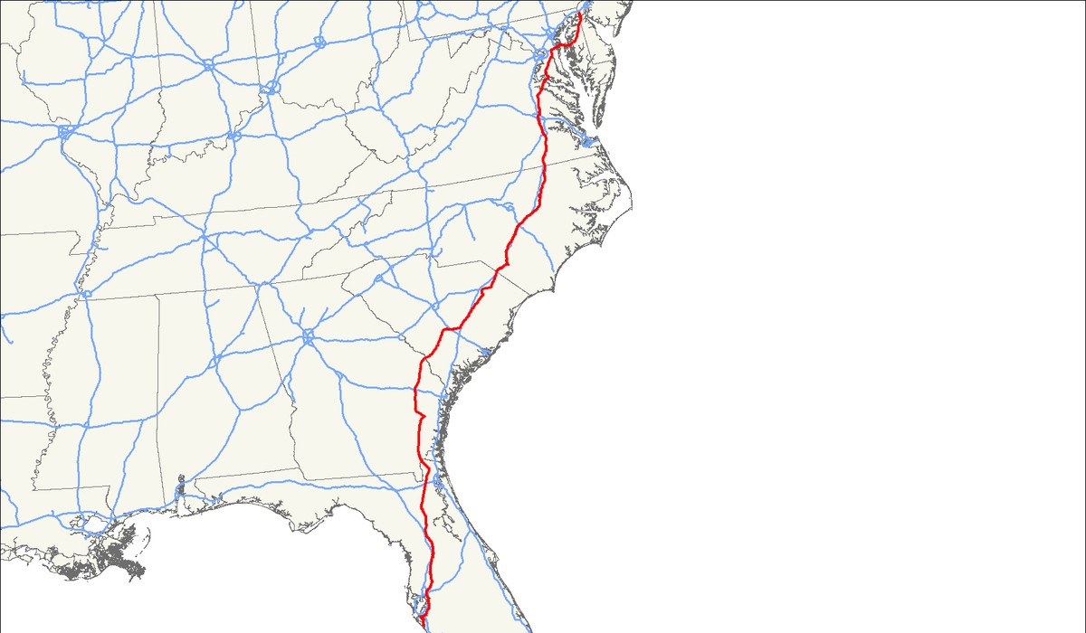US Route Wikipedia - Us 17 map