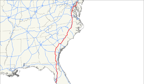 US Route Wikipedia - Us 301 map