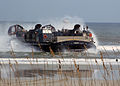 US Navy 031026-N-3188P-003 A Landing Craft Air Cushion (LCAC) comes ashore at Jacksonville Beach, Fla. during an amphibious assault demonstration at the 2003 Jacksonville Sea and Sky Spectacular.jpg