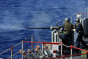 USS Fort McHenry (LSD-43) - A live fire exercise featuring a 25 mm Mk 38 automatic cannon aboard the USS Fort McHenry