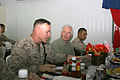 US Navy 060419-M-7416H-005 Mississippi Senator Thad Cochran speaks to Major Gen. Richard C. Zilmer and Marines from his home state at the Camp Fallujah dining facility.jpg