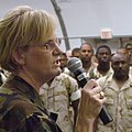 US Navy 061019-N-6827R-481 Commander, Naval Expeditionary Logistics Support Group (NAVELSG), Rear Adm. Sharon H. Redpath, speaks to Sailors during the NAVELSG Delta homecoming.jpg