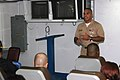 US Navy 061107-N-5016P-001 Chief Machinist's Mate Jordan Rosado speaks to first class petty officers aboard amphibious assault ship USS Nassau (LHA 4) about success, advancement, and the Sailor of the Year program.jpg