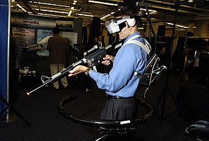 Immersive technology - Engineer research psychologist from the Naval Research Laboratory (NRL) demonstrates the Infantry Immersive Trainer (IIT), one of several Virtual Training Environment projects (VIRTE)