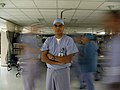 US Navy 070814-N-6906S-010 Hospital Corpsman 2nd Class Aaron Begaye, assigned to Naval Medical Center Portsmouth, poses for a photo while working in the operating room on the night shift.jpg