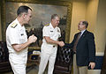 US Navy 070929-N-0696M-051 Adm. Gary Roughead, center, reports to Secretary of the Navy (SECNAV) the Honorable Donald C. Winter, as the 29th Chief of Naval Operations (CNO).jpg