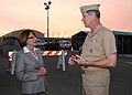 US Navy 071024-N-6843I-059 Rep. Susan Davis and Adm. Len Hering, commander of Navy Region Southwest, discuss the wildfires burning through San Diego while touring a tent-city shelter at Naval Amphibious Base Coronado.jpg