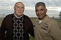US Navy 071129-N-9818V-167 Master Chief Petty Officer of the Navy (MCPON) Joe R. Campa Jr. talks with retired Master Chief Petty Officer of the Navy Thomas Crow at Naval Air Station North Island after the Commander Naval Air Fo.jpg