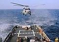 US Navy 081227-N-1082Z-032 An SH-60B Sea Hawk lowers pallets onto the fantail of the Military Sealift Command fleet ocean tug USNS Catawba (T-ATF 168).jpg