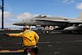 US Navy 090225-N-3946H-028 Lt. Lee Zaltsman gives the signal to launch to an F-A-18F Super Hornet.jpg