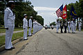 US Navy 090627-N-4154B-005 Sailors and Marines line the sides of Tomcat Boulevard at Oceana Naval Air Station during a memorial service for Command Master Chief Jeffrey Garber.jpg