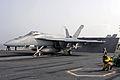 US Navy 090706-N-3610L-033 Lt. Jason Budde, a shooter aboard the aircraft carrier USS Ronald Reagan (CVN 76), launches an F-A-18E Super Hornet assigned to the.jpg