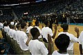 US Navy 091104-N-6736S-274 Rear Adm. Vic Guillory swears in 35 Sailors into the Delayed Entry Program while attending a New Orleans Hornets game.jpg