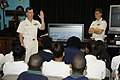 US Navy 100316-N-5366K-011 Capt. Thomas Calabrese talks to 7th and 8th grade students about submarines at Academy Prep Center of Tampa during Tampa Bay Navy Week.jpg