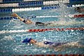 US Navy 100512-N-6932B-560 Navy competitor Lt. Melanie Monts de Oca pulls ahead of the competition during a preliminary swimming event at the inaugural Warrior Games.jpg