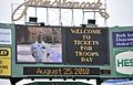 US Navy 100825-N-0413R-120 Cmdr. Matt Graham, stationed in Bahrain, sends his family greetings on the JumboTron during a Boston Red Sox baseball game at Fenway Park.jpg