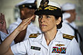 US Navy 110622-N-KK576-012 Rear Adm. Gretchen S. Herbert salutes as she is piped aboard during the Navy Cyber Forces change of command ceremony at.jpg