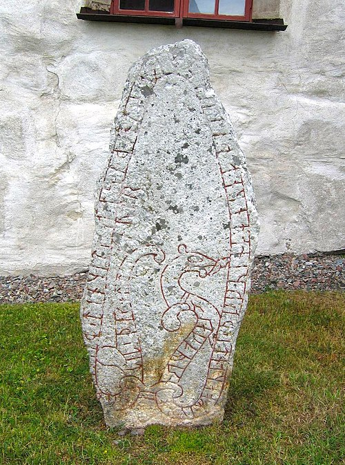 The rune stone U 344 in Orkesta, Uppland, Sweden, was raised by the Viking Ulfr who commemorated that he had taken a danegeld in England with Thorkell the Tall. He took two others with Skagul Toste and Cnut the Great. U 344, Orkesta.JPG