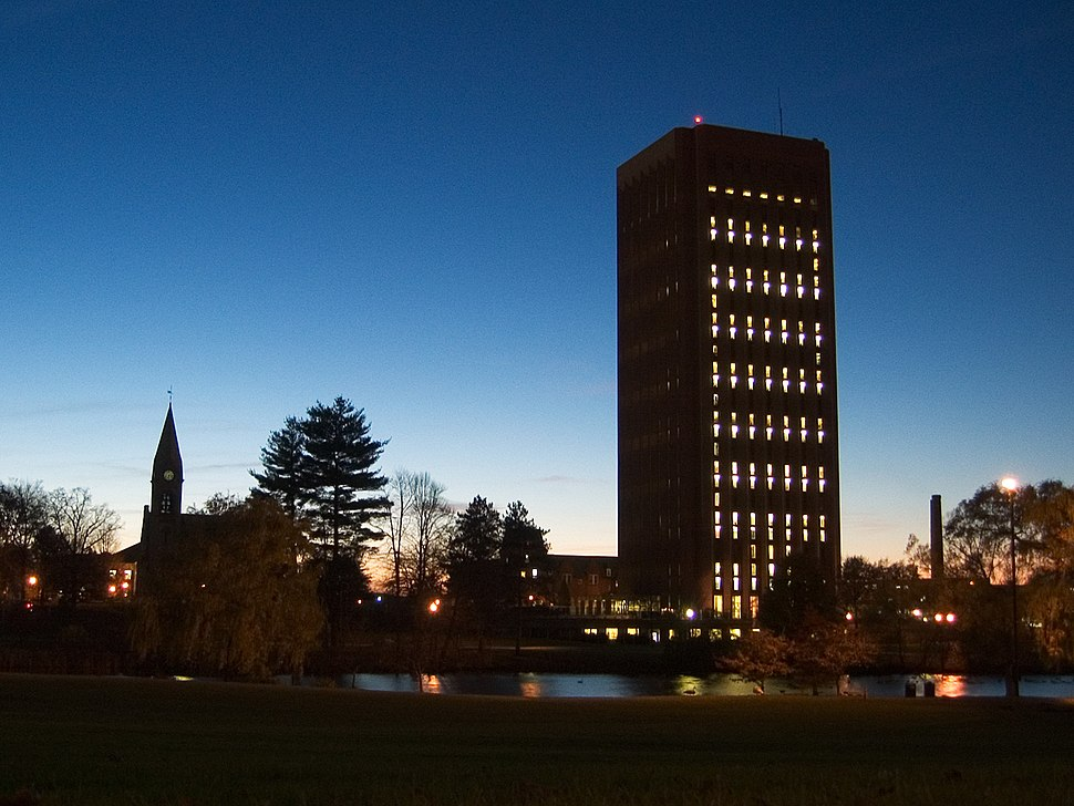 Umass Amherst Chapel & Library in the evening