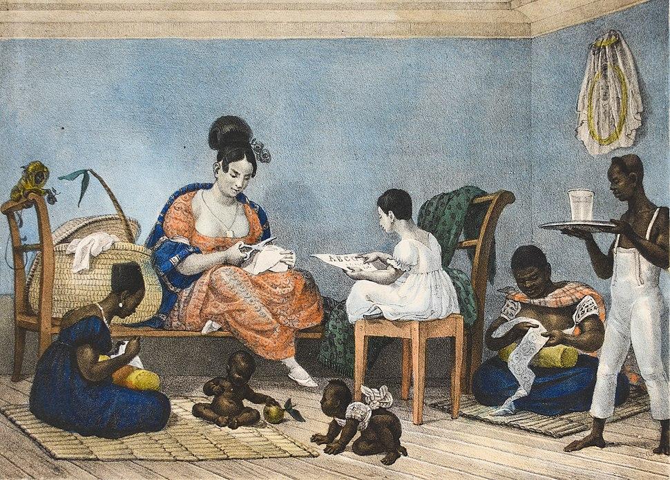 Une Dame d´une Fortune Ordinaire dans son Intérieur au Milieu de ses Habitudes Journalières, by Jean-Baptiste Debret 1823