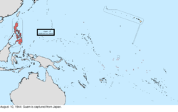Map of the change to the United States in the Pacific Ocean on August 10, 1944