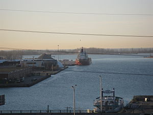 Unknown freighter moored in the Eastern Gap early on 2012 04 04 -b.jpg
