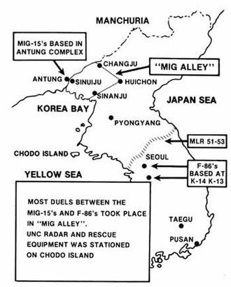 MiG Alley - Map of aerial combat in Korean War.