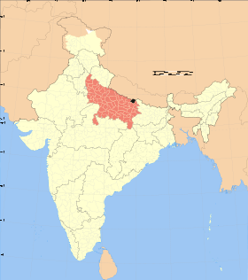 Uttar Pradesh district location map Maharajganj.svg