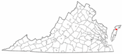 Location of Parksley, Virginia