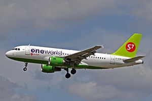 Oneworld - A S7 Airlines Airbus A319-100 in the Oneworld livery.