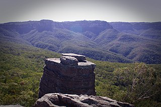 Ruined Castle rock formation in the Jamison Valley area of the Blue Mountains, in New South Wales, Australia