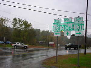 Vermont Route 106 - VT 106 at VT 131 in Weathersfield